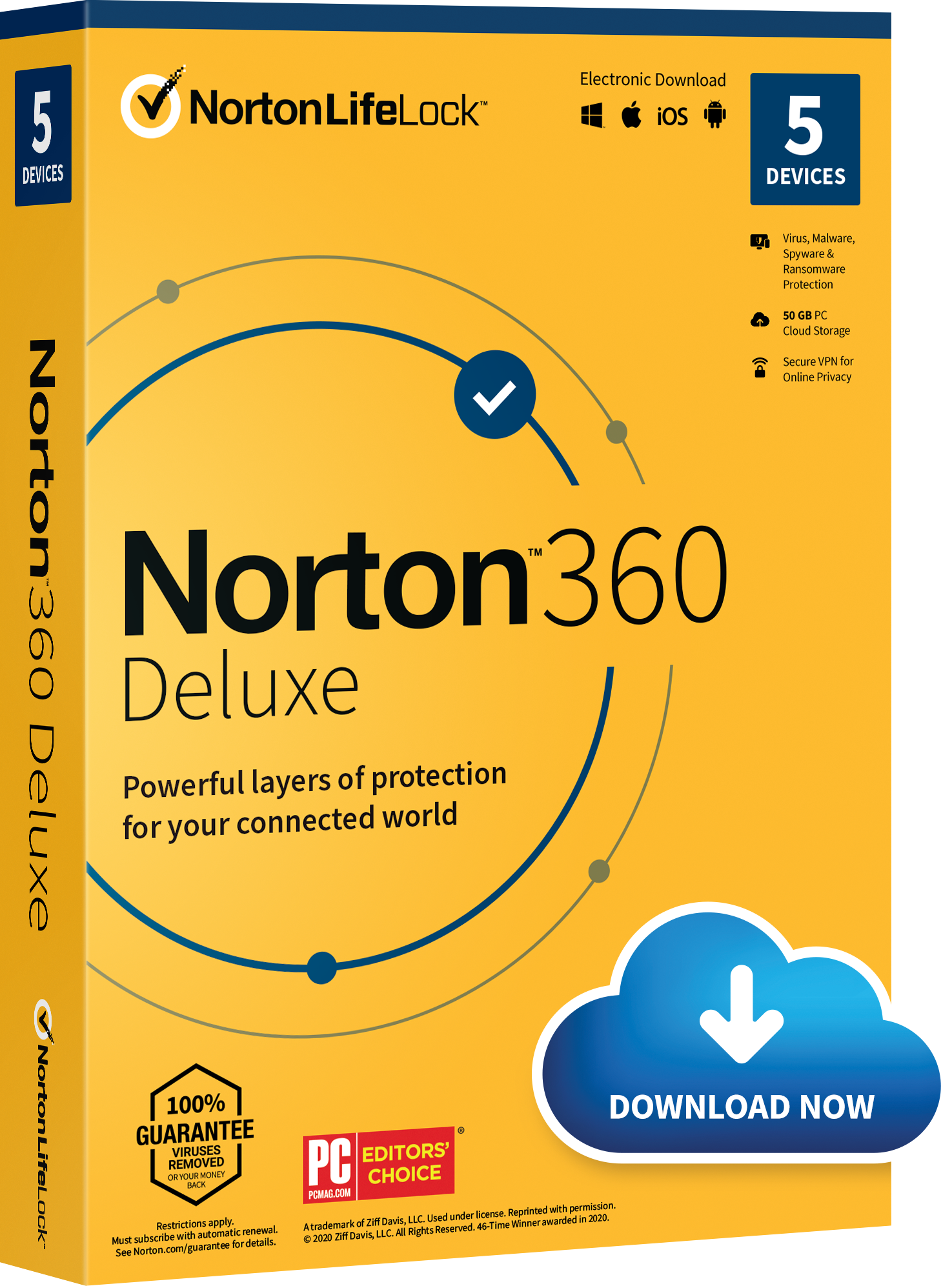 Norton 360 Deluxe Antivirus Software 5 Devices